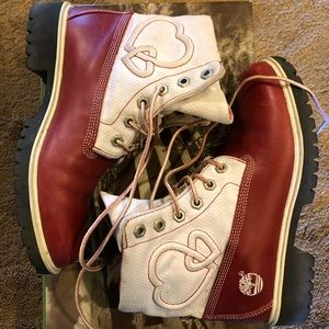 Red and white hearts timberland boots